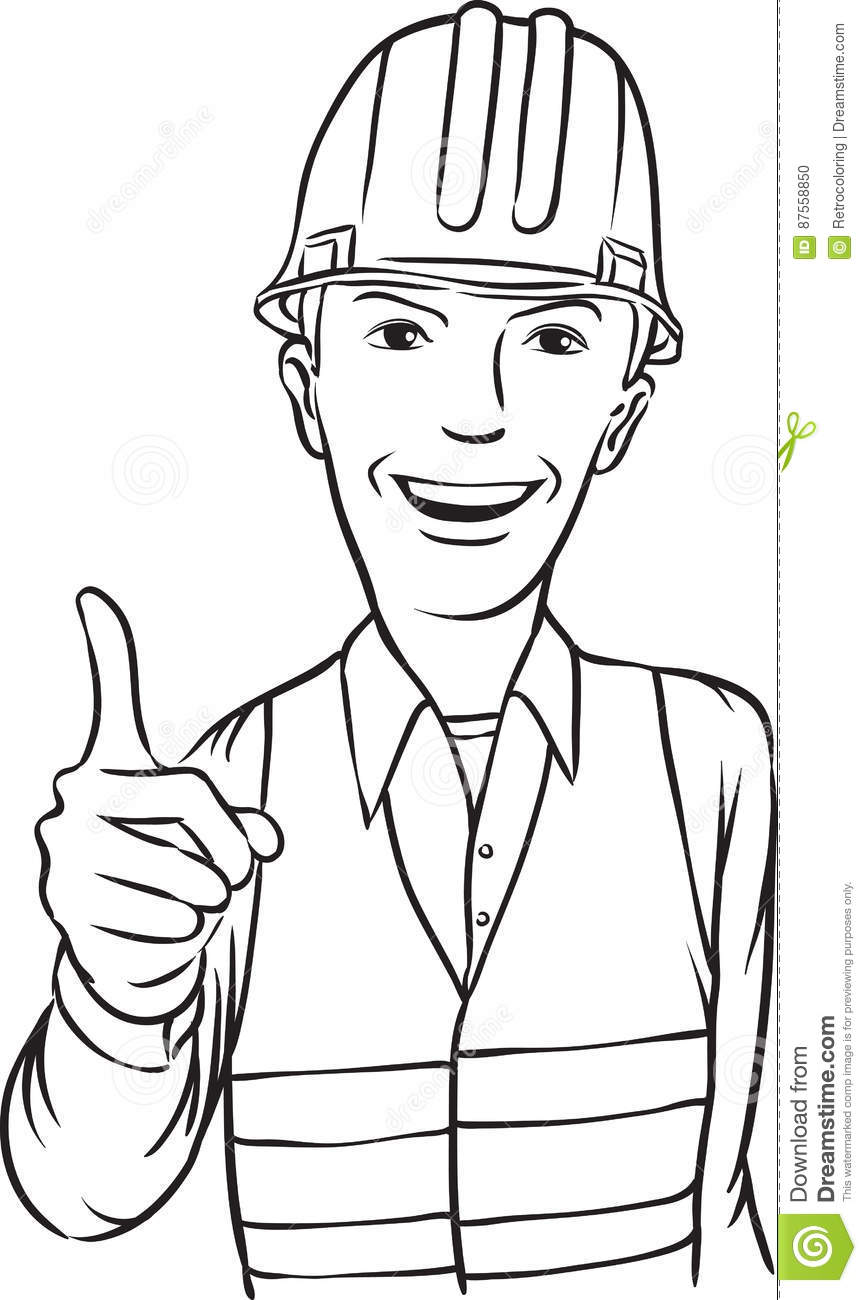 Whiteboard Drawing - Smiling Construction Worker Stock Vector ...
