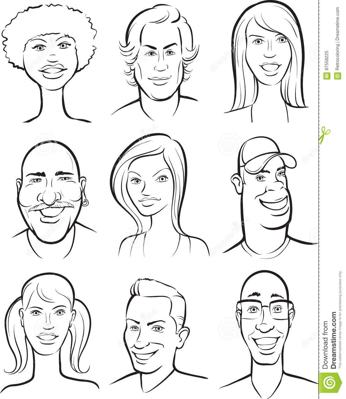 Whiteboard Drawing - Smiling People Faces Collection Stock Vector ...