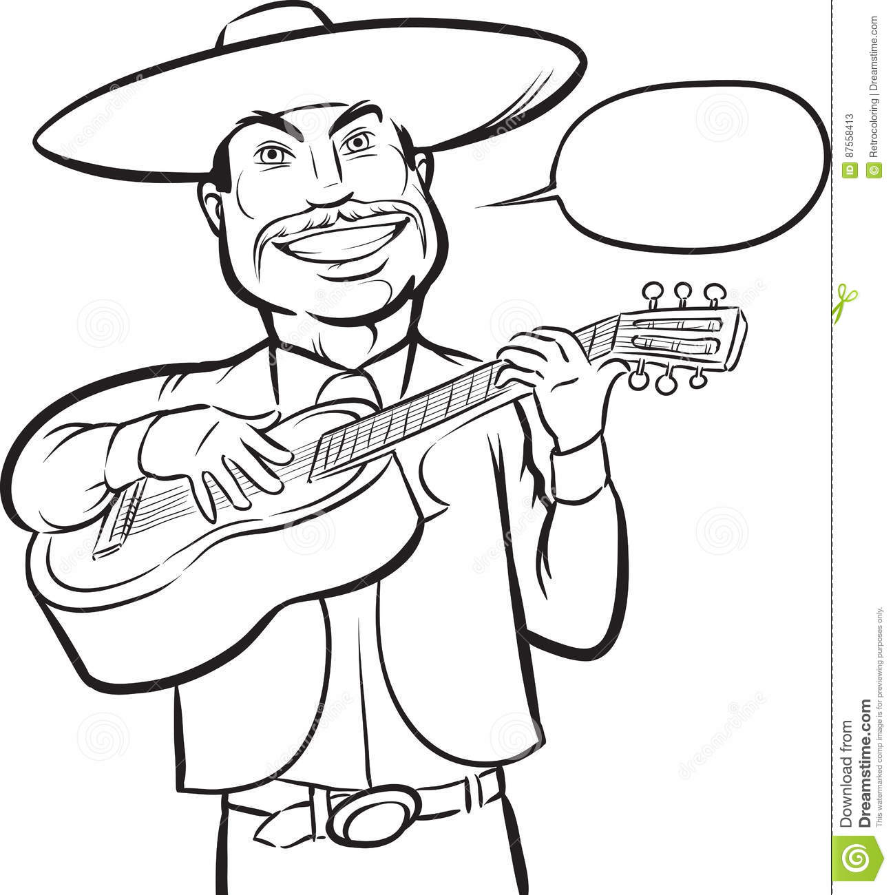 mariachi singer guitarist coloring page black coloring drawing