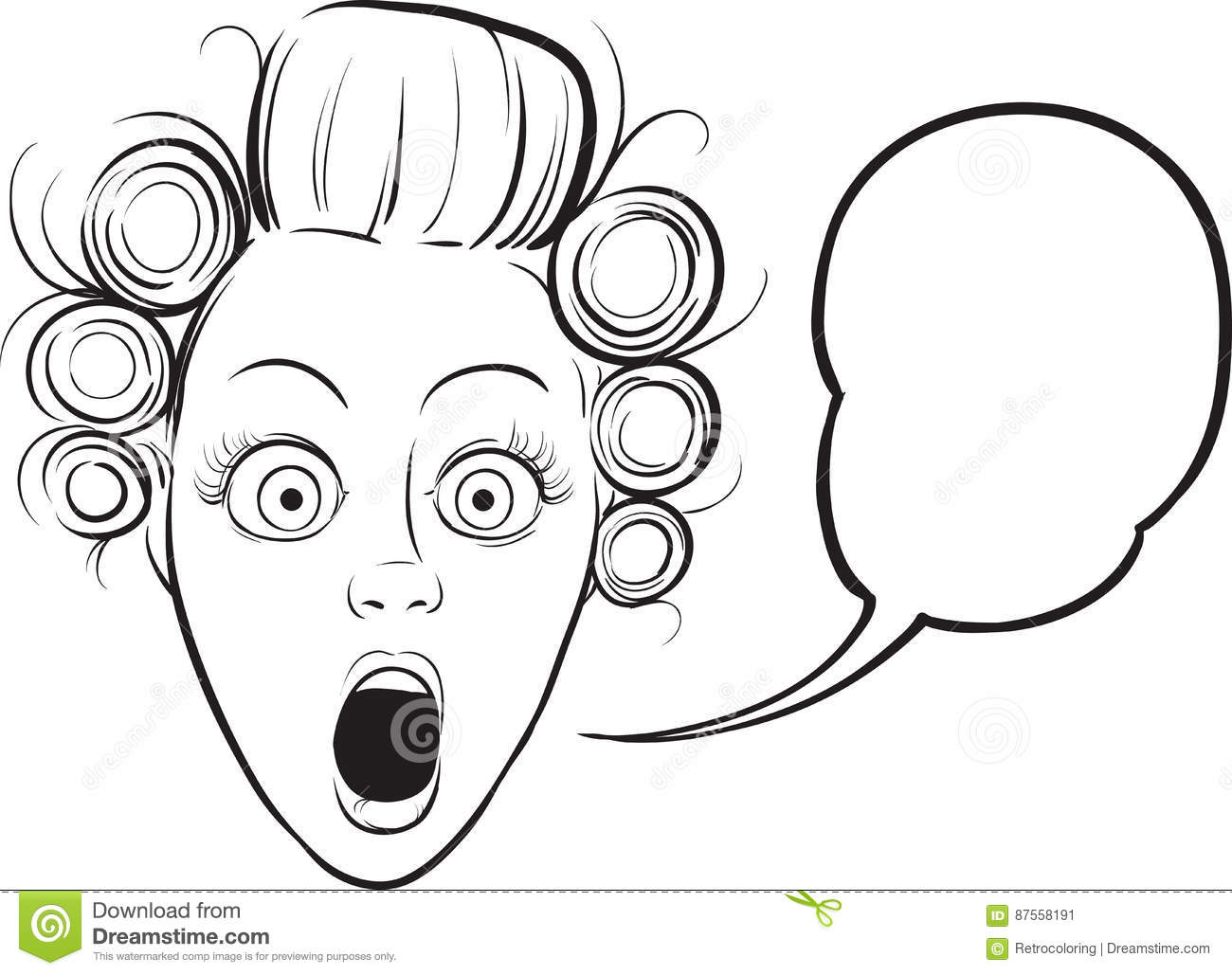 Line Drawing Face Vector : Whiteboard drawing surprised woman face stock vector