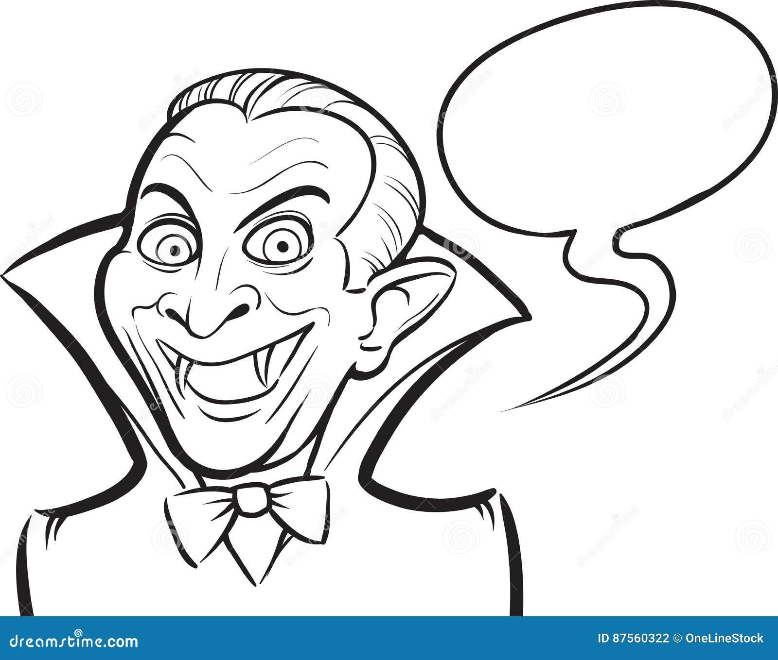 whiteboard drawing vampire halloween cartoon character stock