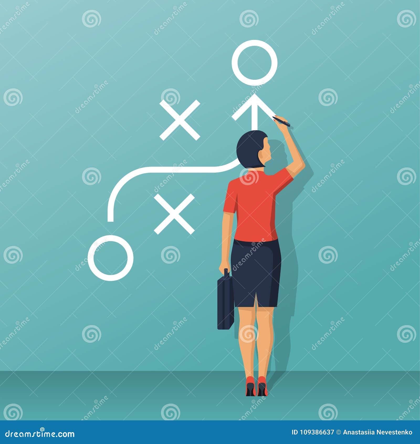 Whiteboard ereto da mulher de negócios que mostra o esquema
