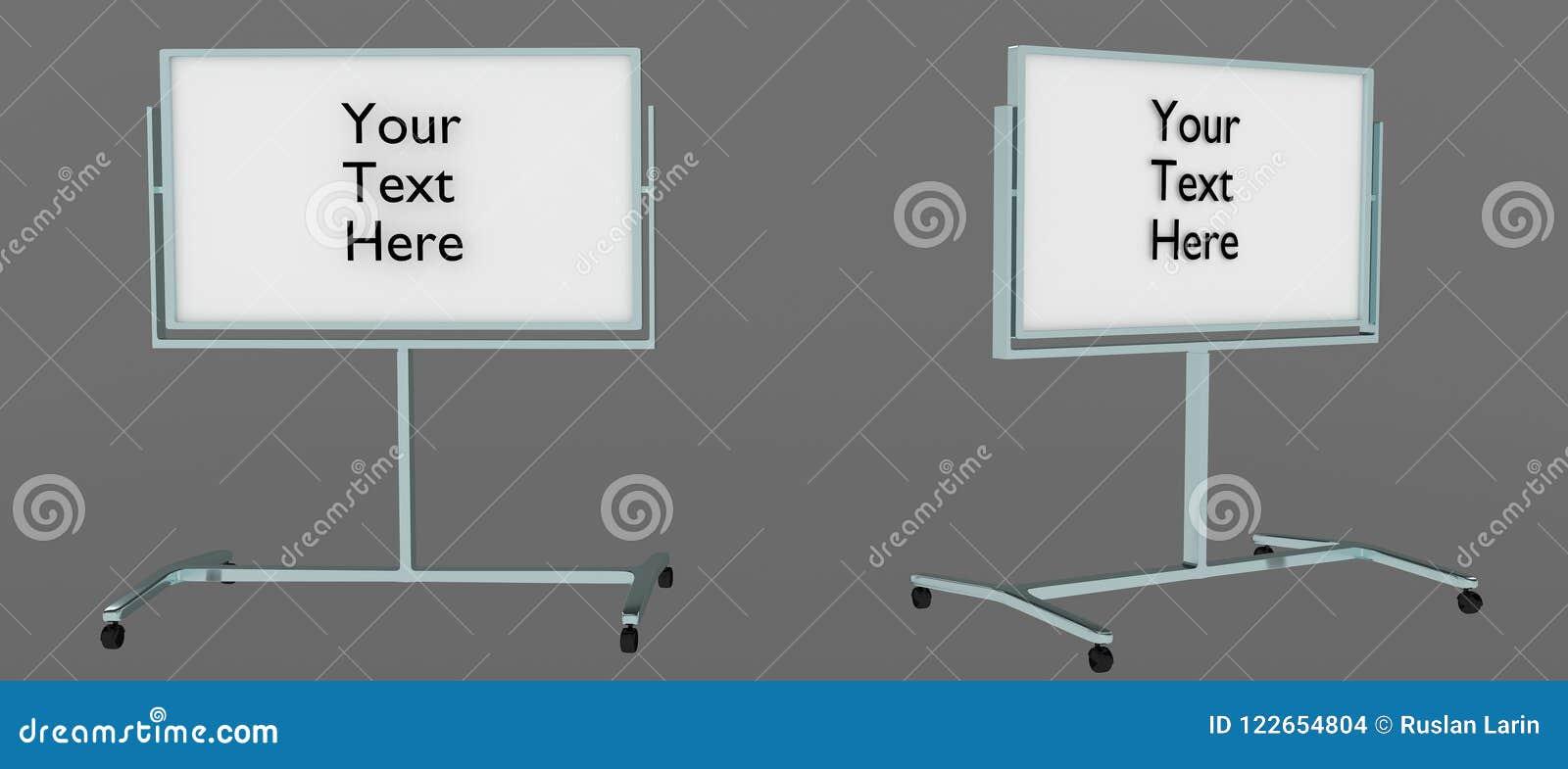 Whiteboard ereto de dois ângulos com ` seu do texto ` aqui escrito nele, fácil editar 3D rendido, isolado no fundo cinzento