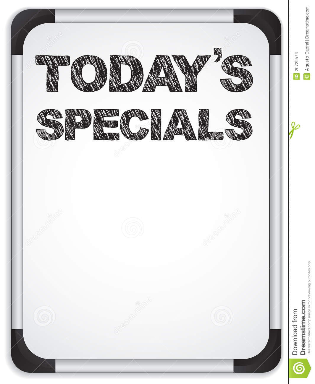 Whiteboard With Today S Specials Message Stock Images