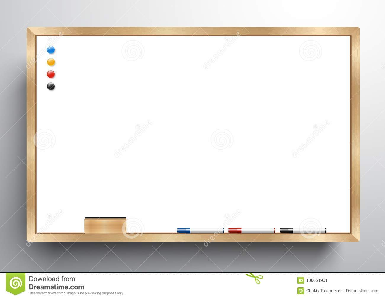 Whiteboard Wooden Frame With Eraser Whiteboard, Color Marker And ...