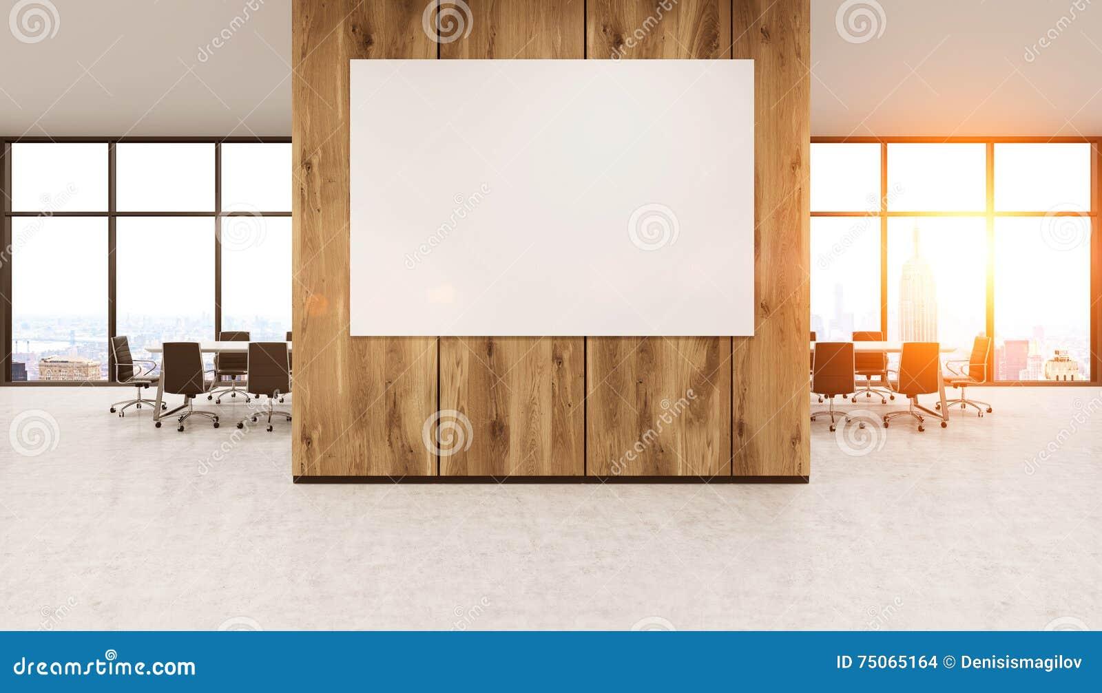Whiteboard on wooden office wall stock illustration for Sunlight windows