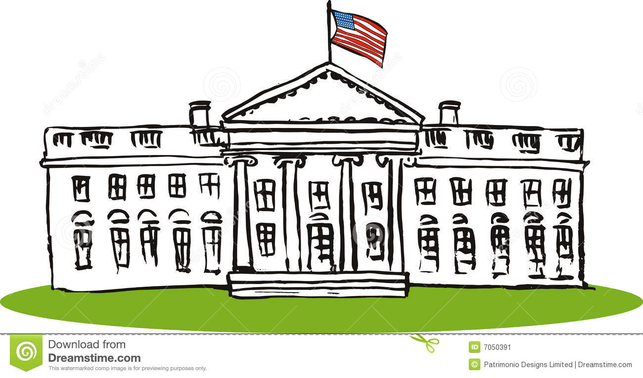 Vector art on the whitehouse isolated on white.