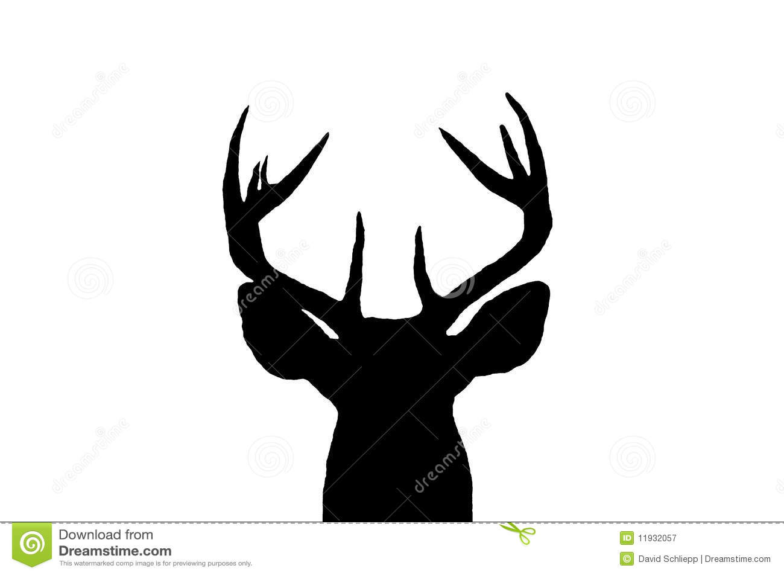 Reindeer head silhouette whitetail deer buck silhouette