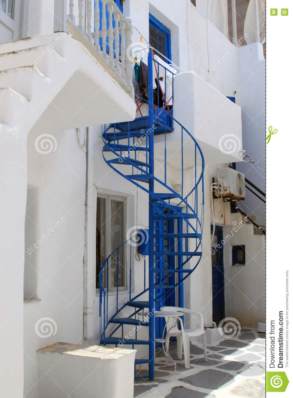 Whitewashed House With Spiral Staircase, Paros
