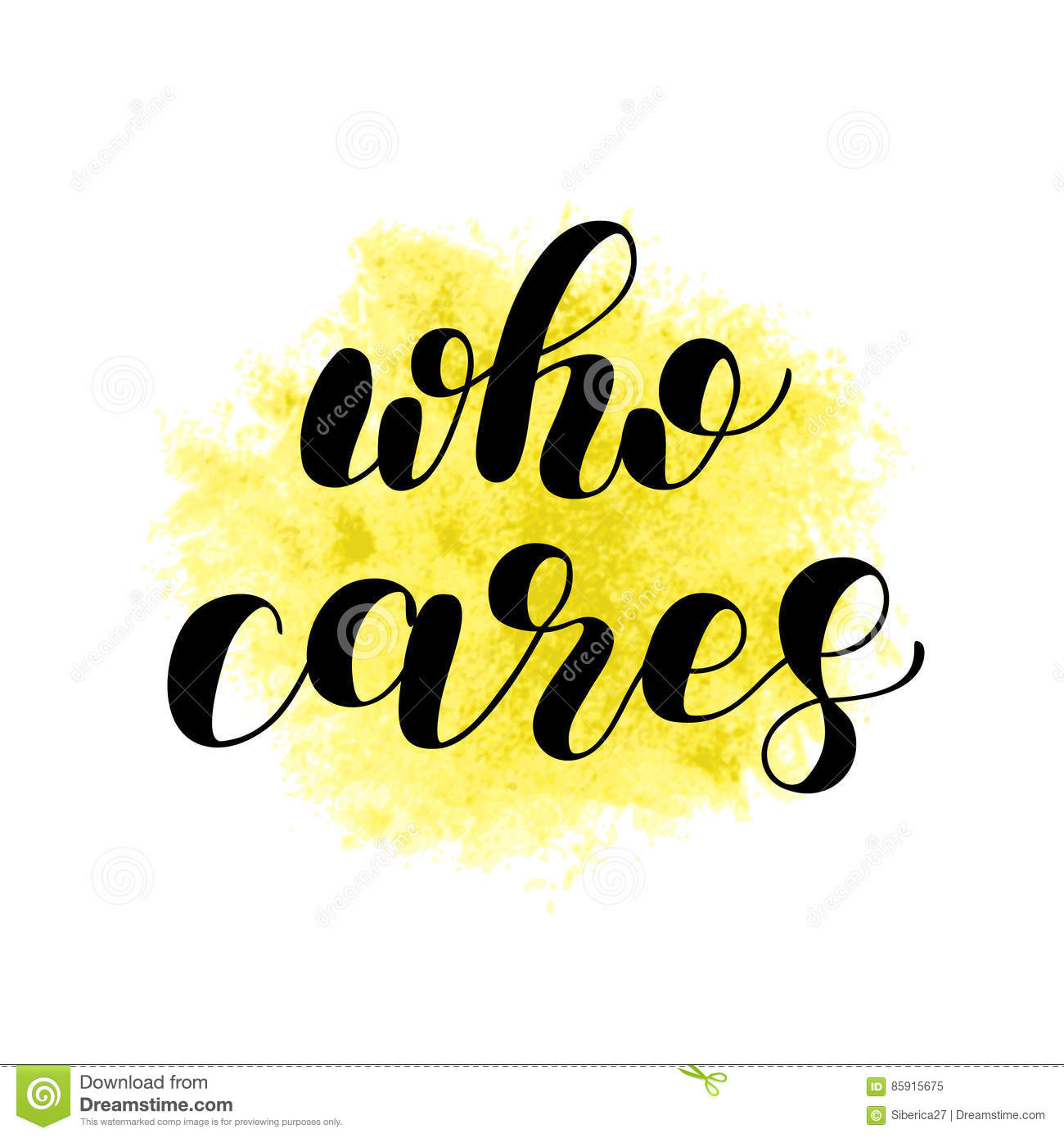 who cares brush lettering illustration vector