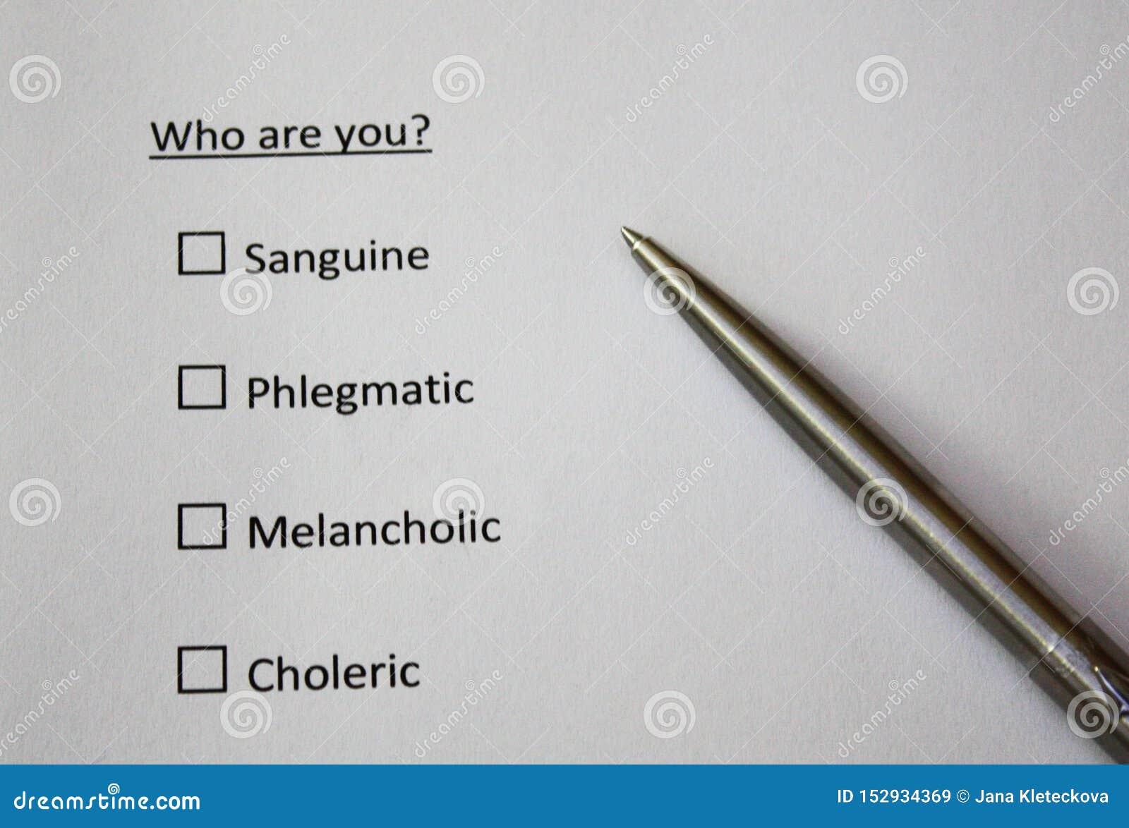 Personality test phlegmatic sanguine choleric melancholy