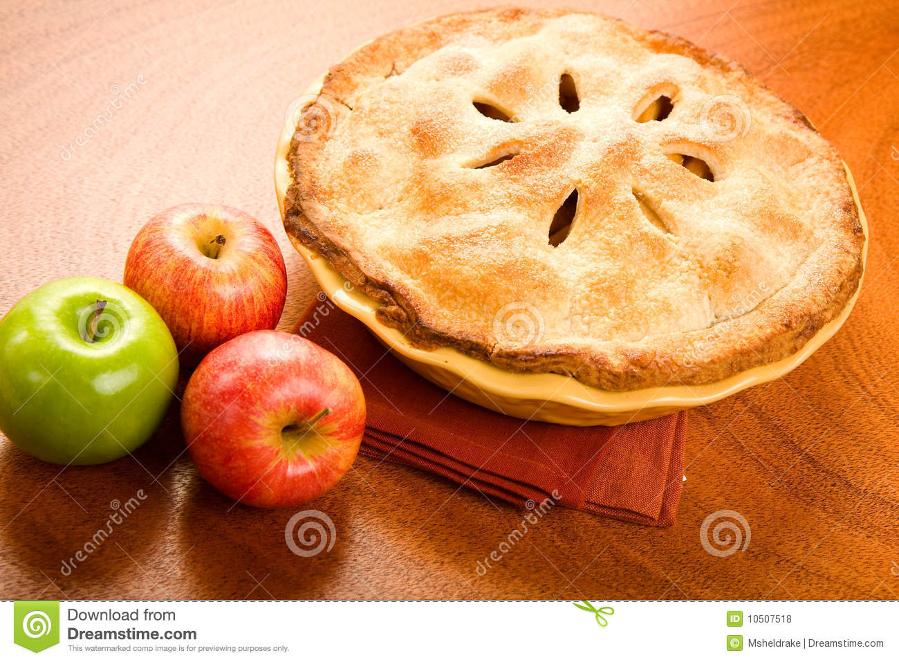 Whole Apple Pie Stock Photo Image Of Napkin Porcelain