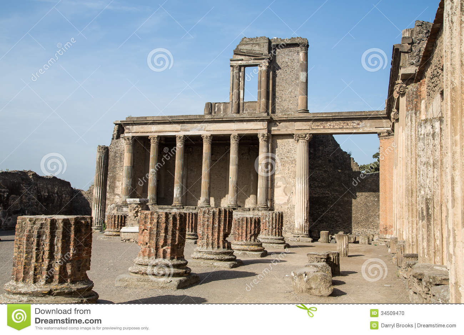 Broken Stone Pillar : Whole and broken columns in pompeii stock photo image