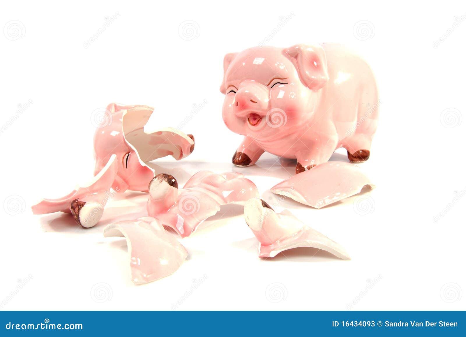 Broken Piggy Bank Cartoon Vector