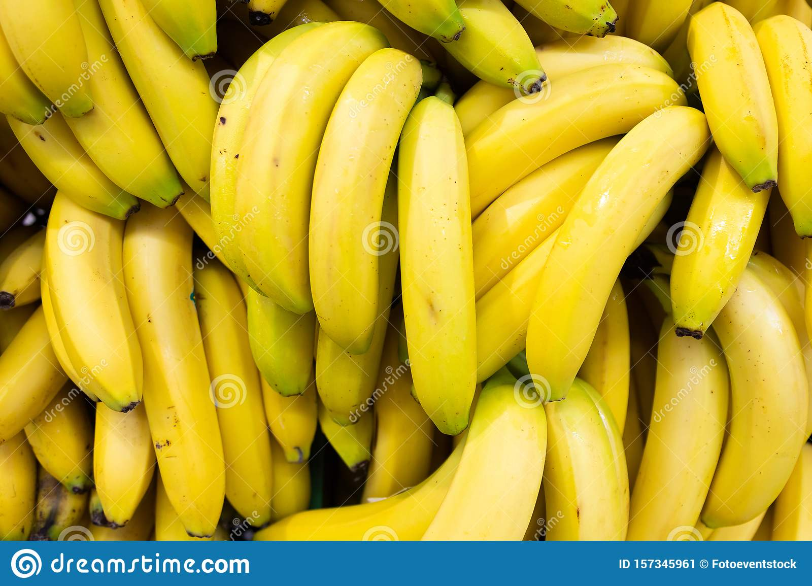 Whole Bundle Of Yellow Ripe Bananas Rich In Vitamin C For Food Background Stock Image Image Of Vegetarian Health 157345961