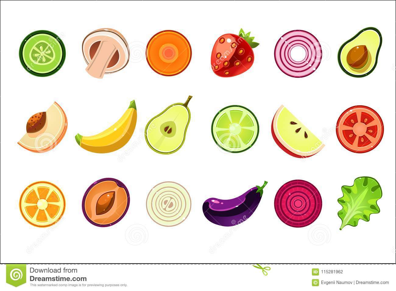 Whole And Cut In Halves Of Fresh Fruits And Vegetables. Natural And ...