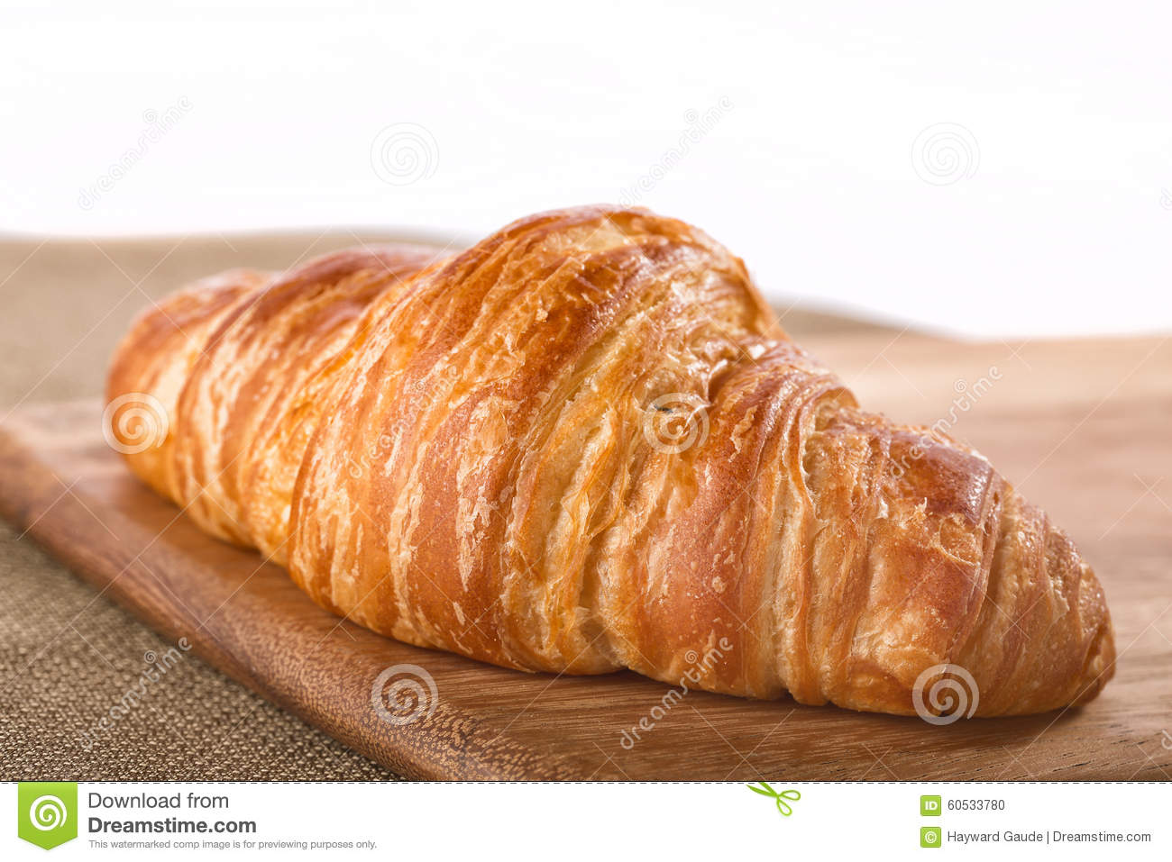 Whole Flaky French Croissant On A Board Stock Photo - Image: 60533780
