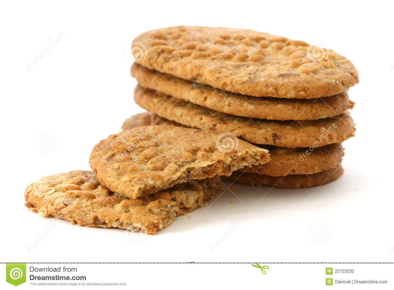 Whole Grain Biscuits On White Background Stock Photography - Image ...