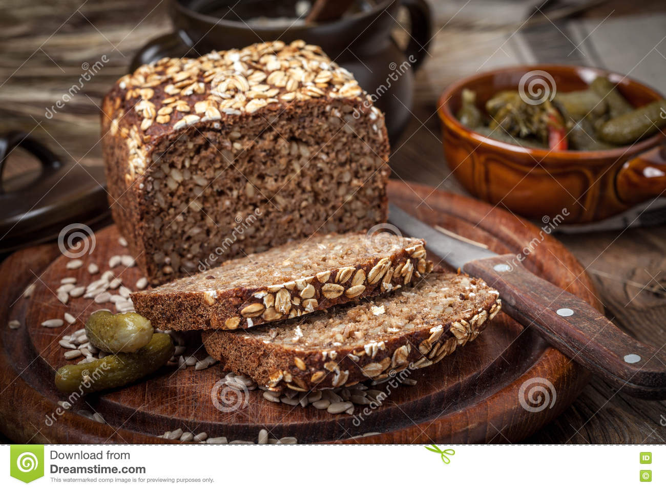Download Whole Grain Rye Bread With Seeds. Stock Photo - Image of free, eating: 79924198