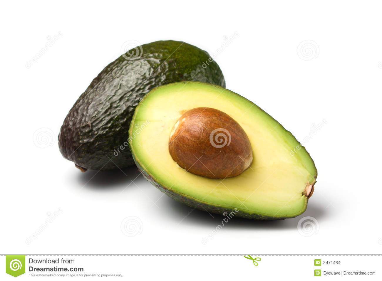 Whole/half avocado isolated