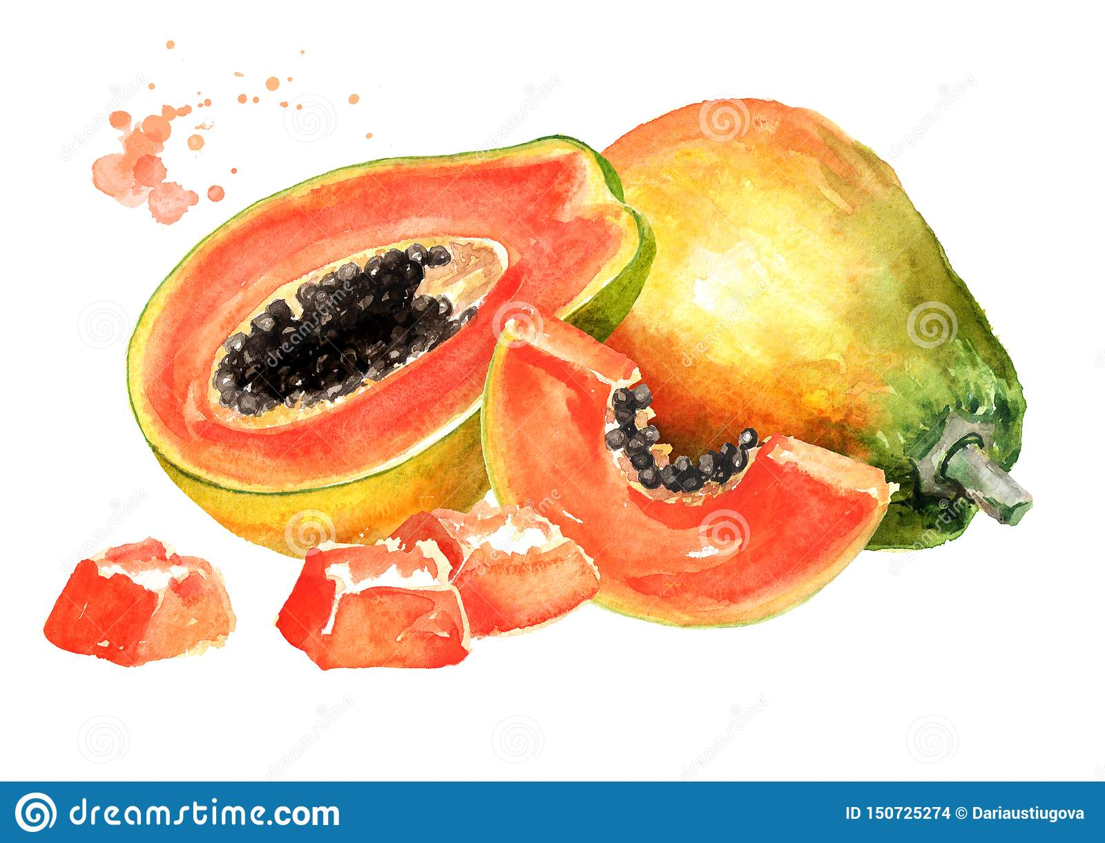 Whole, half and sliced sweet ripe papaya fruit. Watercolor hand drawn illustration isolated on white background