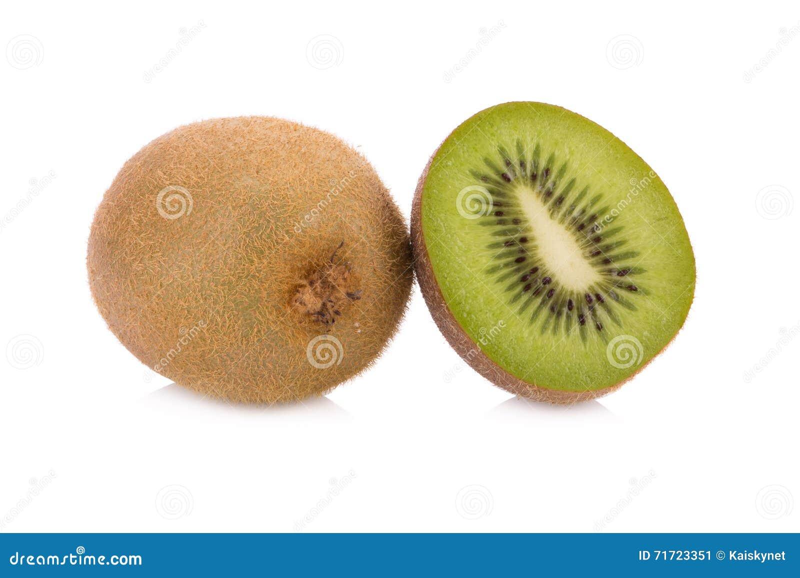 Whole Kiwi Fruit And His Sliced Segments Isolated On White ...