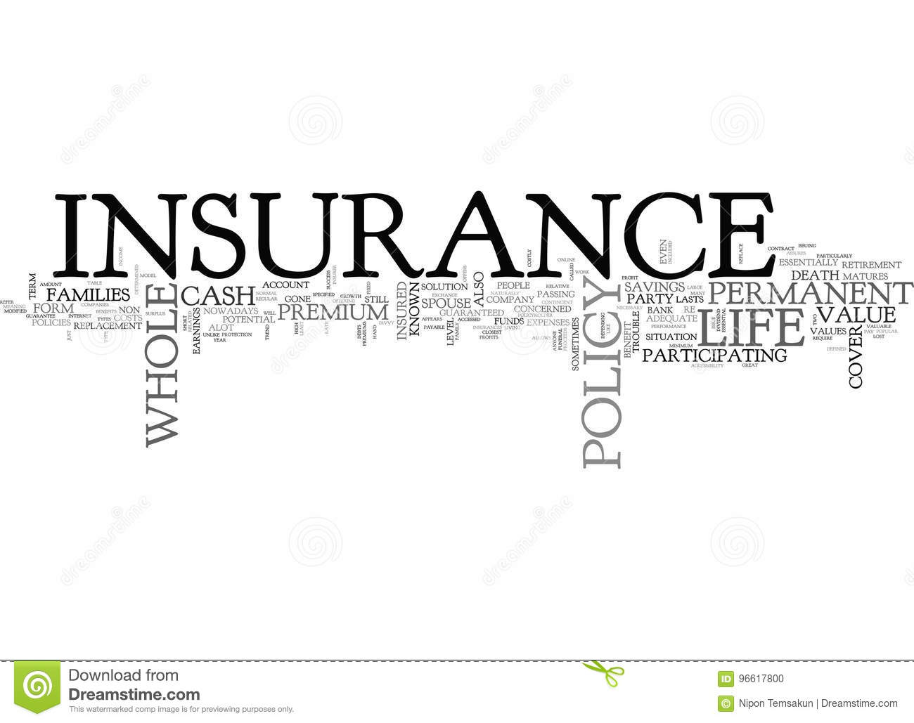Whole Life Insurance A Premium For Life Word Cloud Stock ...