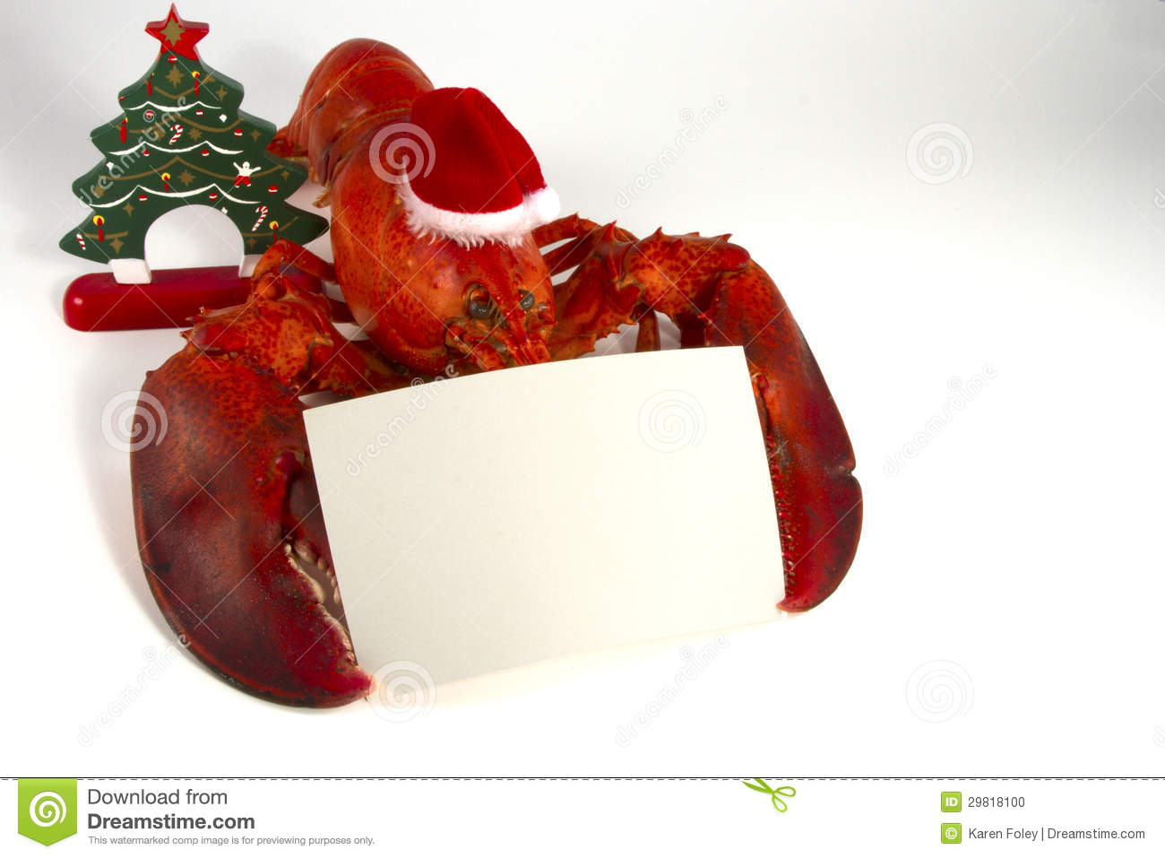 Christmas Lobster With Menu Stock Photo - Image: 29818100