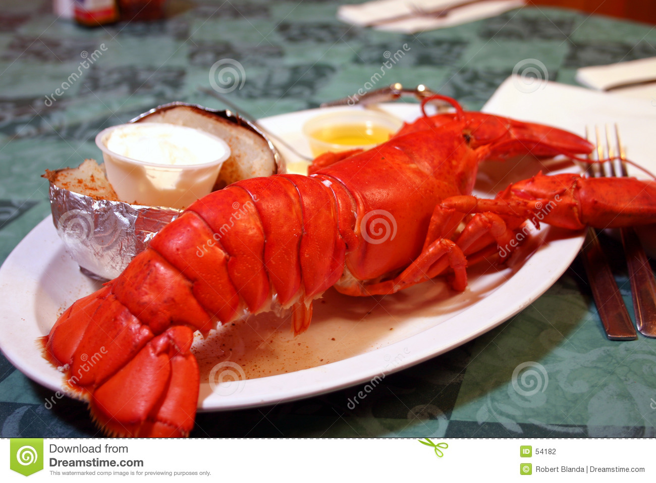 Whole Maine Lobster Dish Stock Photo Image Of Tablecloth