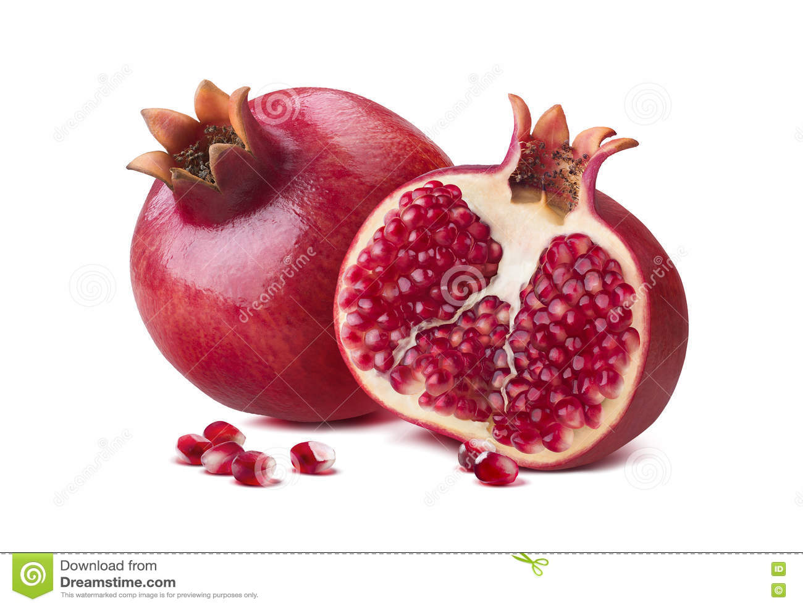 Whole pomegranate half seeds isolated on white
