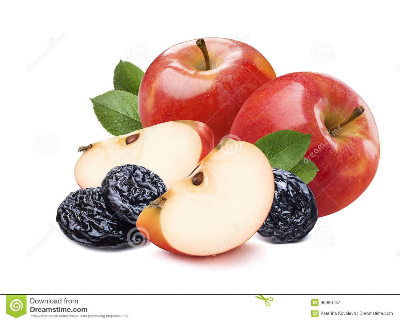 2 whole red apples, pieces and dry plums