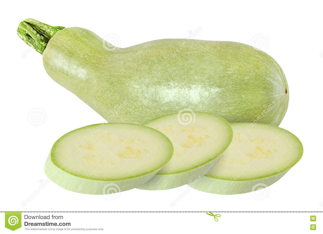 Whole Zucchini And Round Pieces Isolated On White Royalty ...