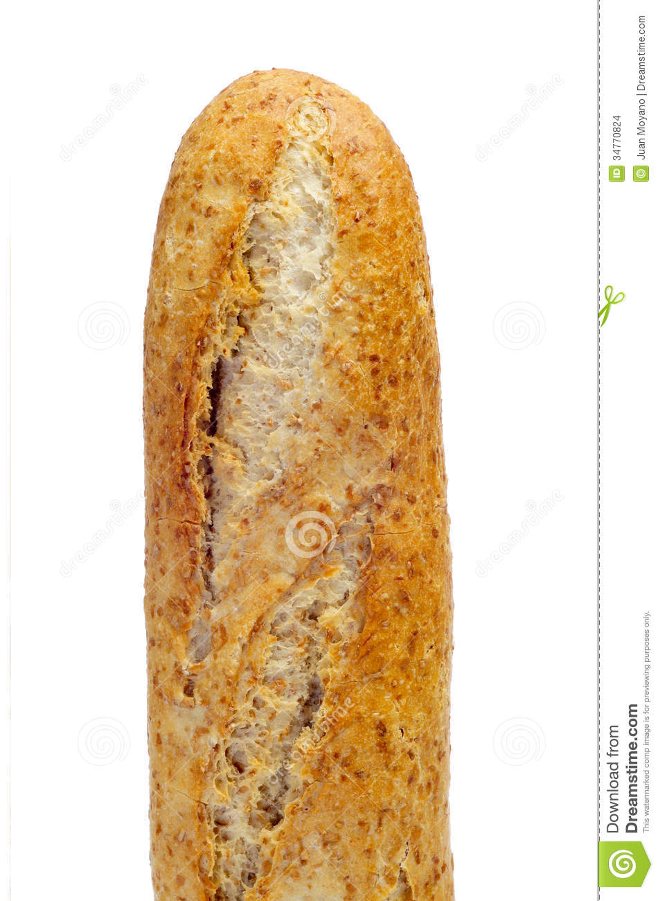 Closeup of a whole wheat baguette on a white background.