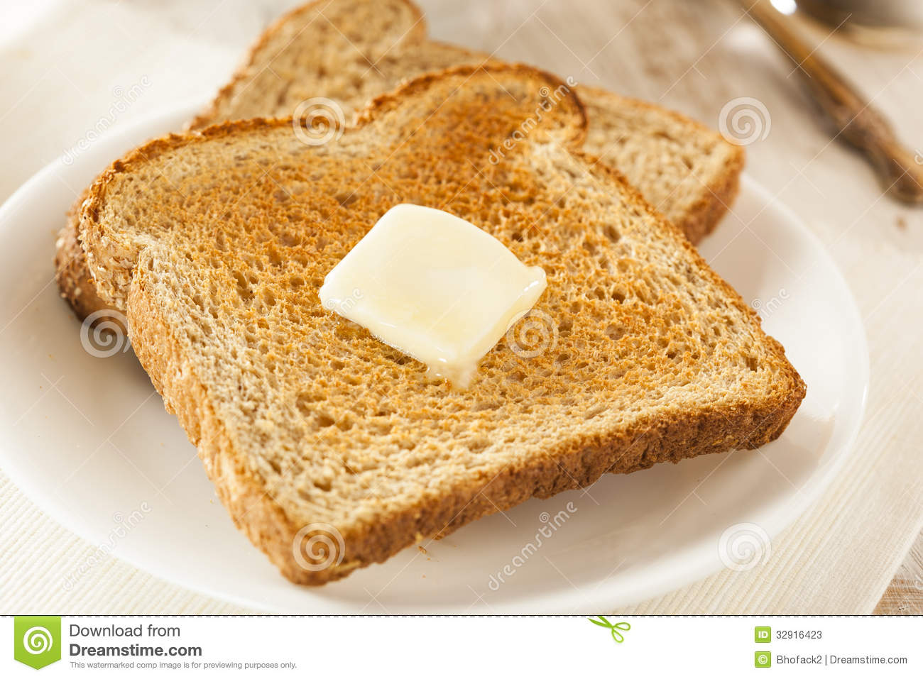 Whole Wheat Buttered Toast Stock Photos - Image: 32916423