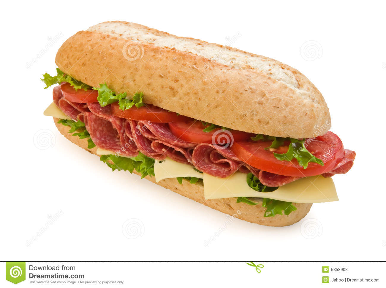 Whole Wheat Salami Sandwich With Cheese Stock Photos - Image: 5358903