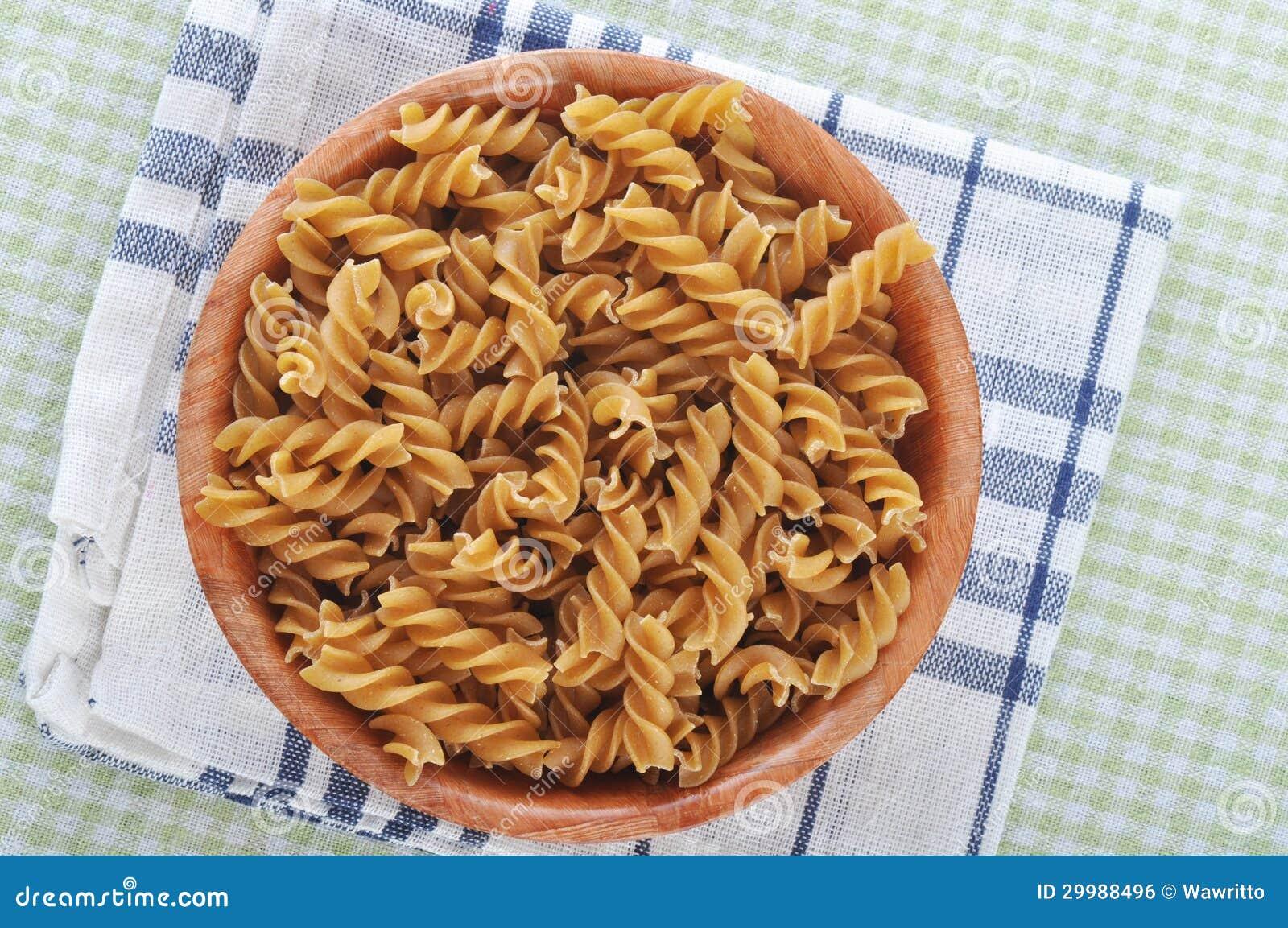 Wholemeal fusilli italian pasta