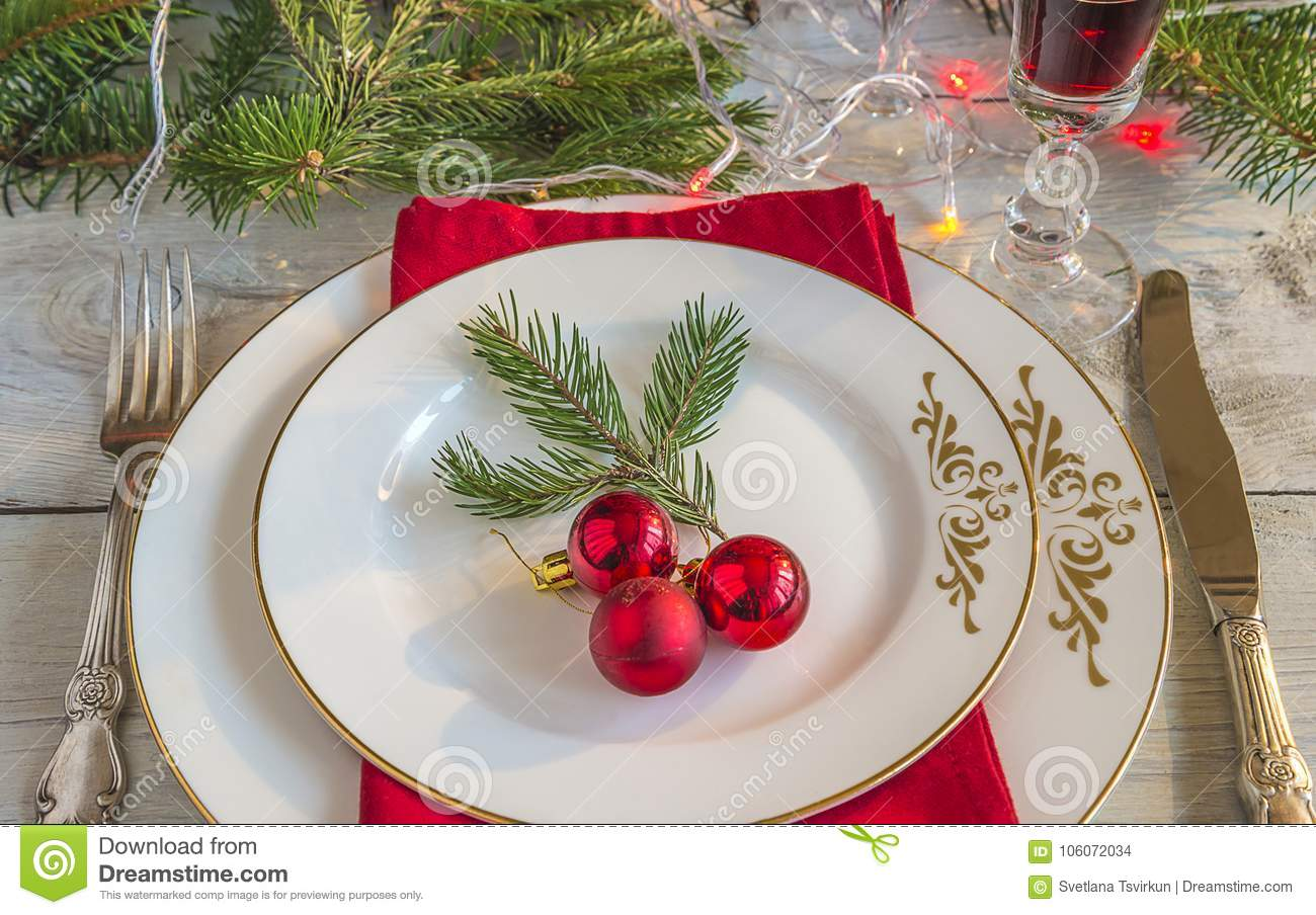 Festive place settings for christmas or new year dinner
