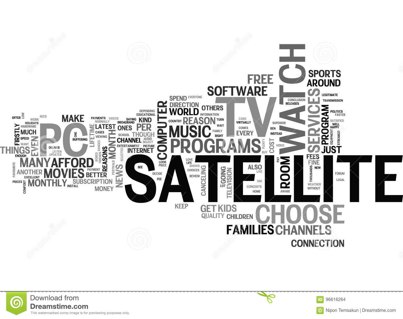 Why Choose Satellite Tv For Your Pc Word Cloud Stock