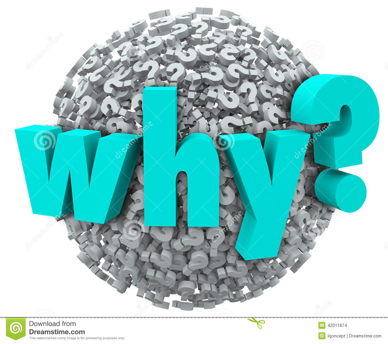 Why word in 3d letters on a sphere of question marks to illustrate ...