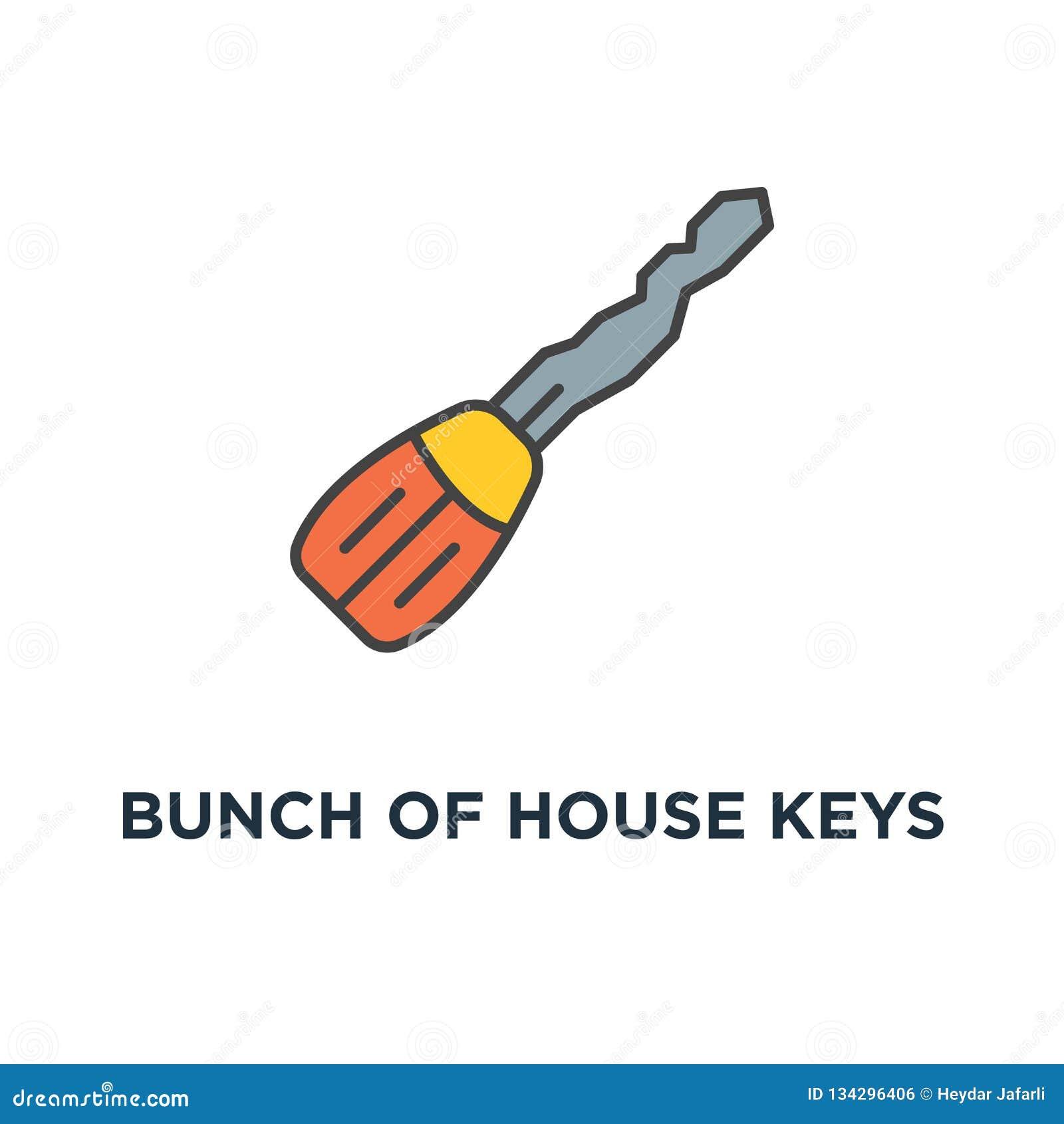 Wiązka domów klucze dla blokować drzwi i otwierać, dojazdowa ikona bezpiecznie pojęcie symbolu projekt, ochrona, kędziorek, ochro