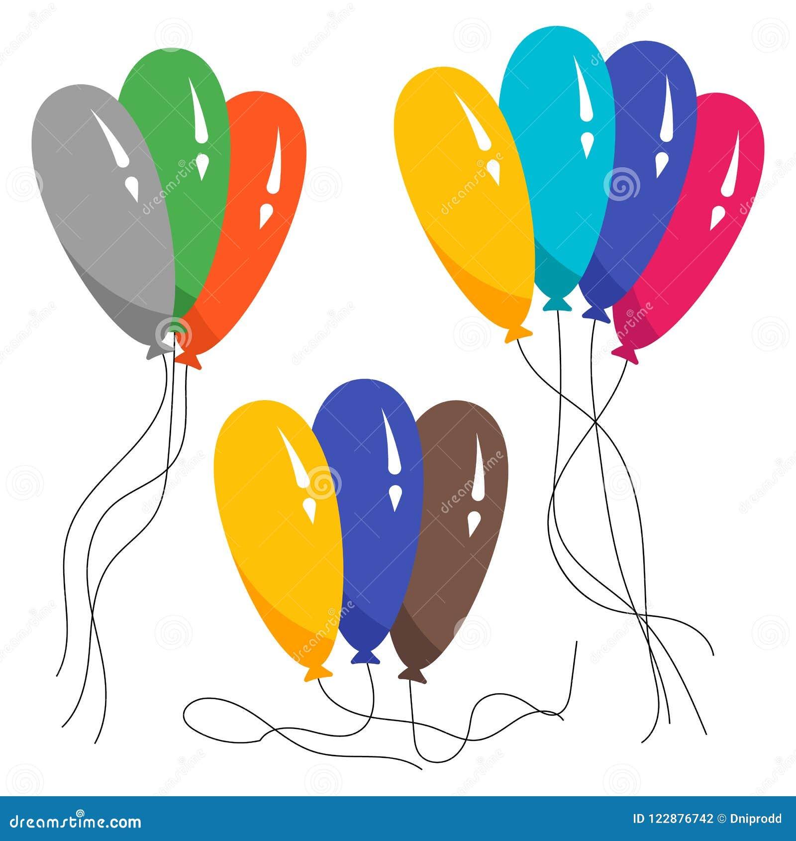 Wiązki kilka colour helu balony