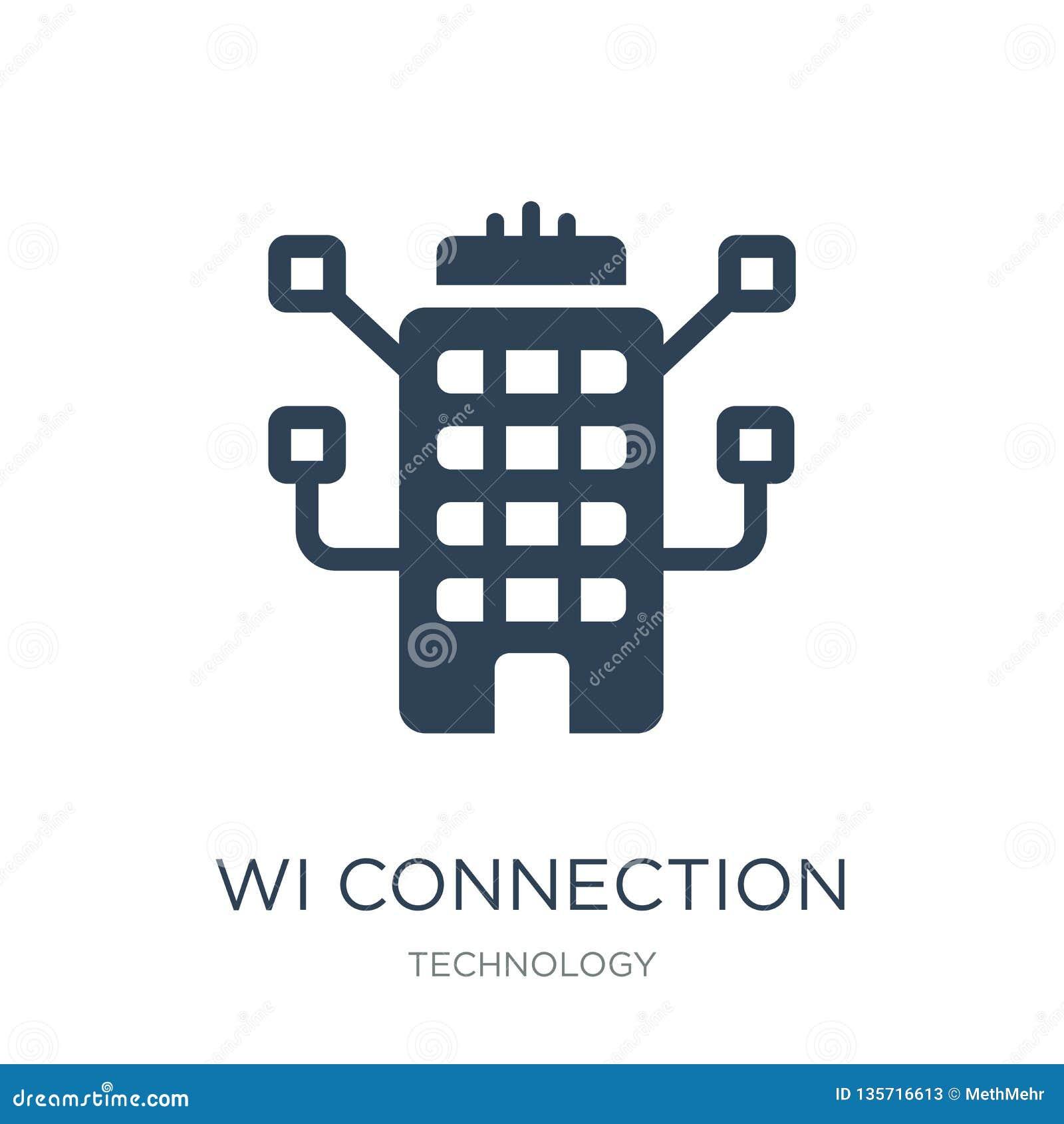 Wi-anslutningssymbol i moderiktig designstil wi-anslutningssymbol som isoleras på vit bakgrund enkel symbol för wi-anslutningsvek