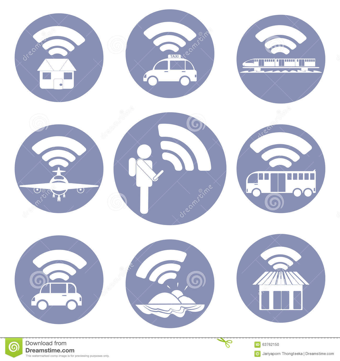 Wi-Fi connection everywhere icon pictograms