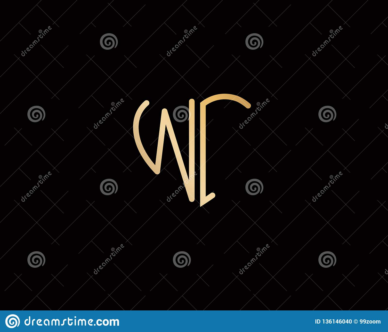 Wi heart shape logo letter with circle shape gold color vector design logo  design for business f61935523e04