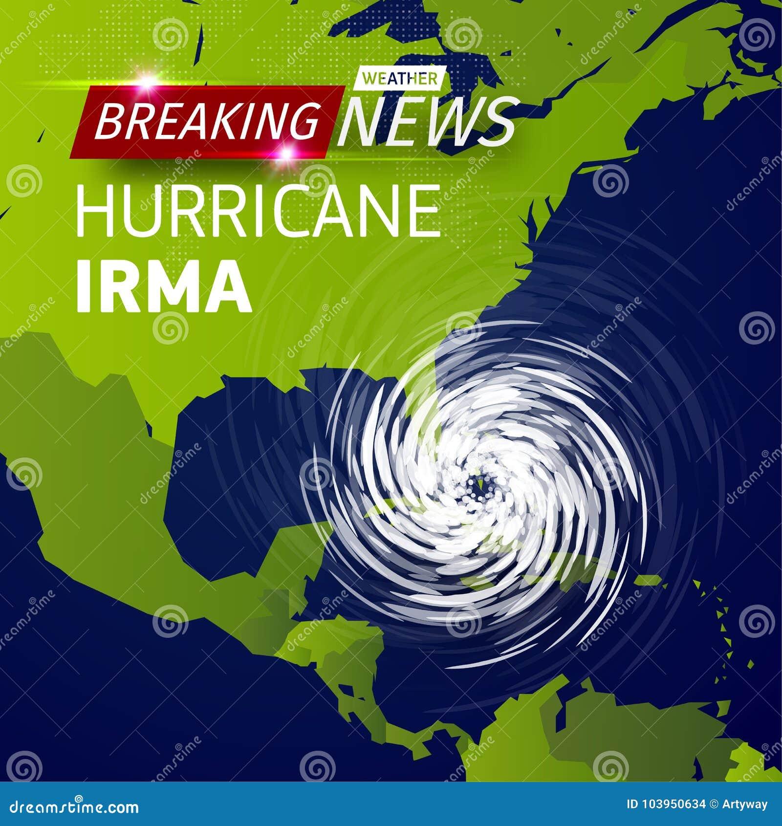 Wiadomość dnia TV, realistycznego Huraganowego cyklonu wektorowa ilustracja na usa mapie, tajfun spirali burzy logo na zielonym ś