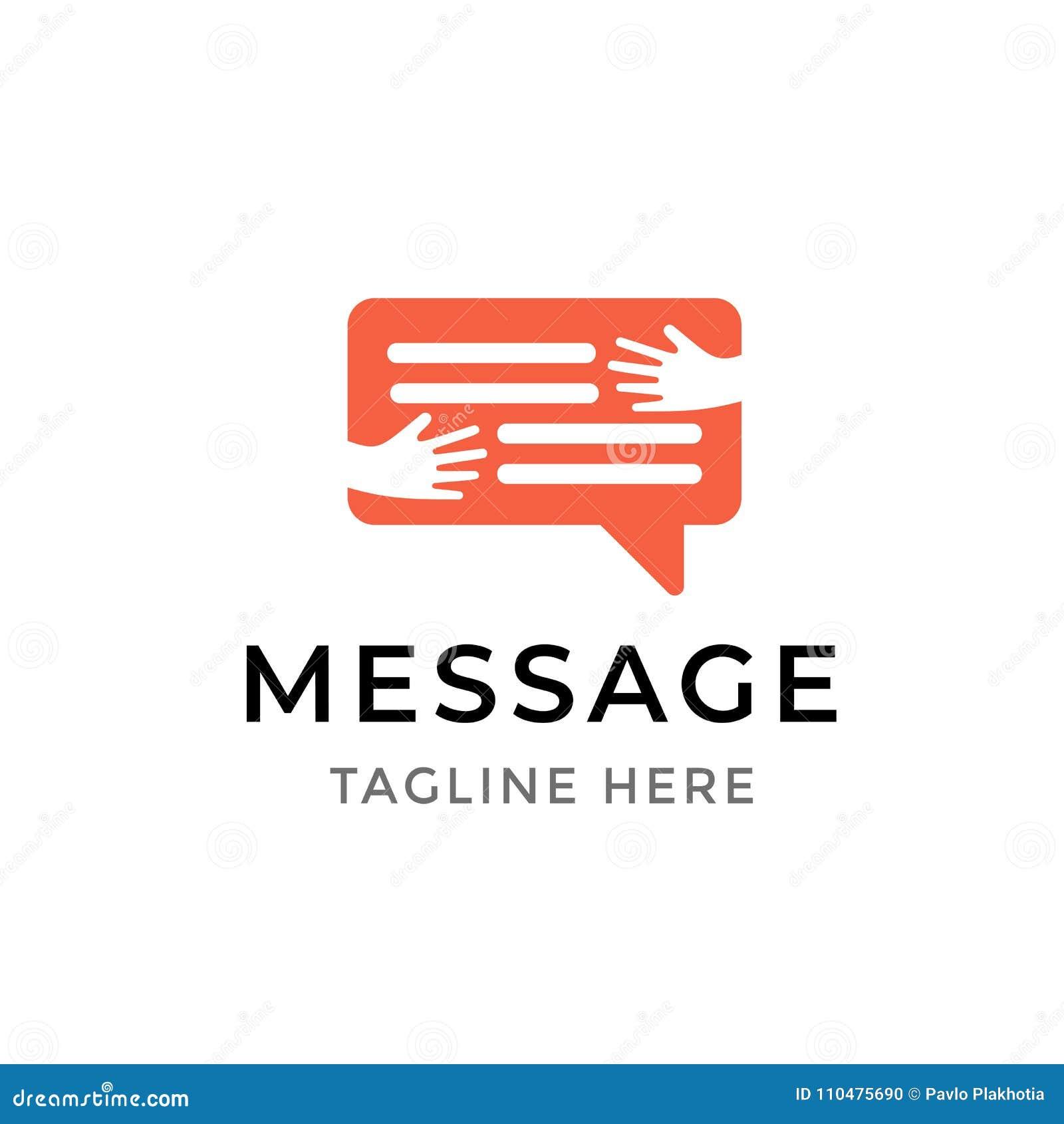 Wiadomość loga komunikacyjny projekt Szablonu symbol ludzkie ręki obejmuje gadka bąbel odizolowywającego Ogólnospołeczna medialna