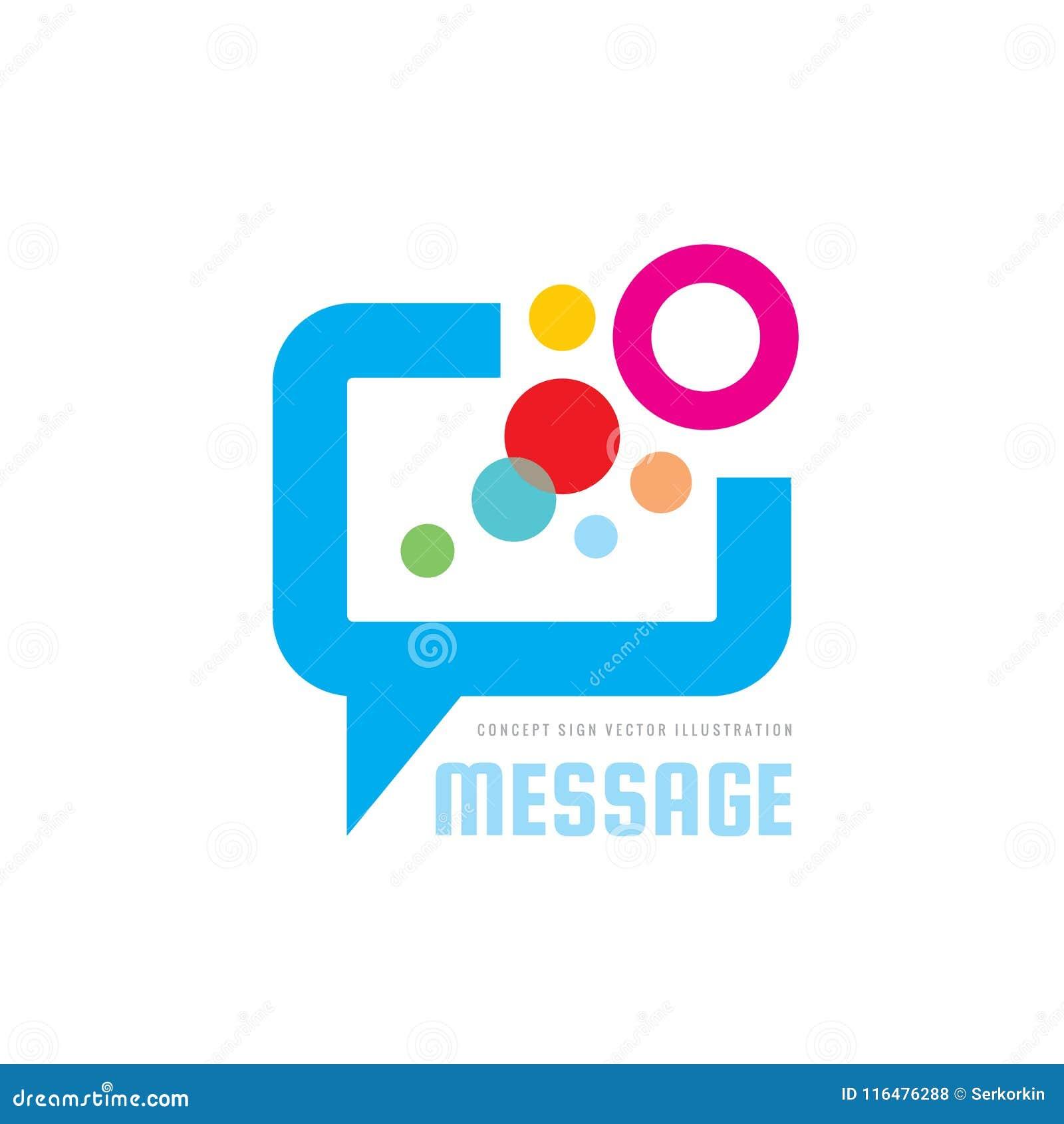 Wiadomość - mowa gulgocze wektorową loga pojęcia ilustrację w mieszkanie stylu Dialog opowiada ikonę gadka znak Ogólnospołeczny m