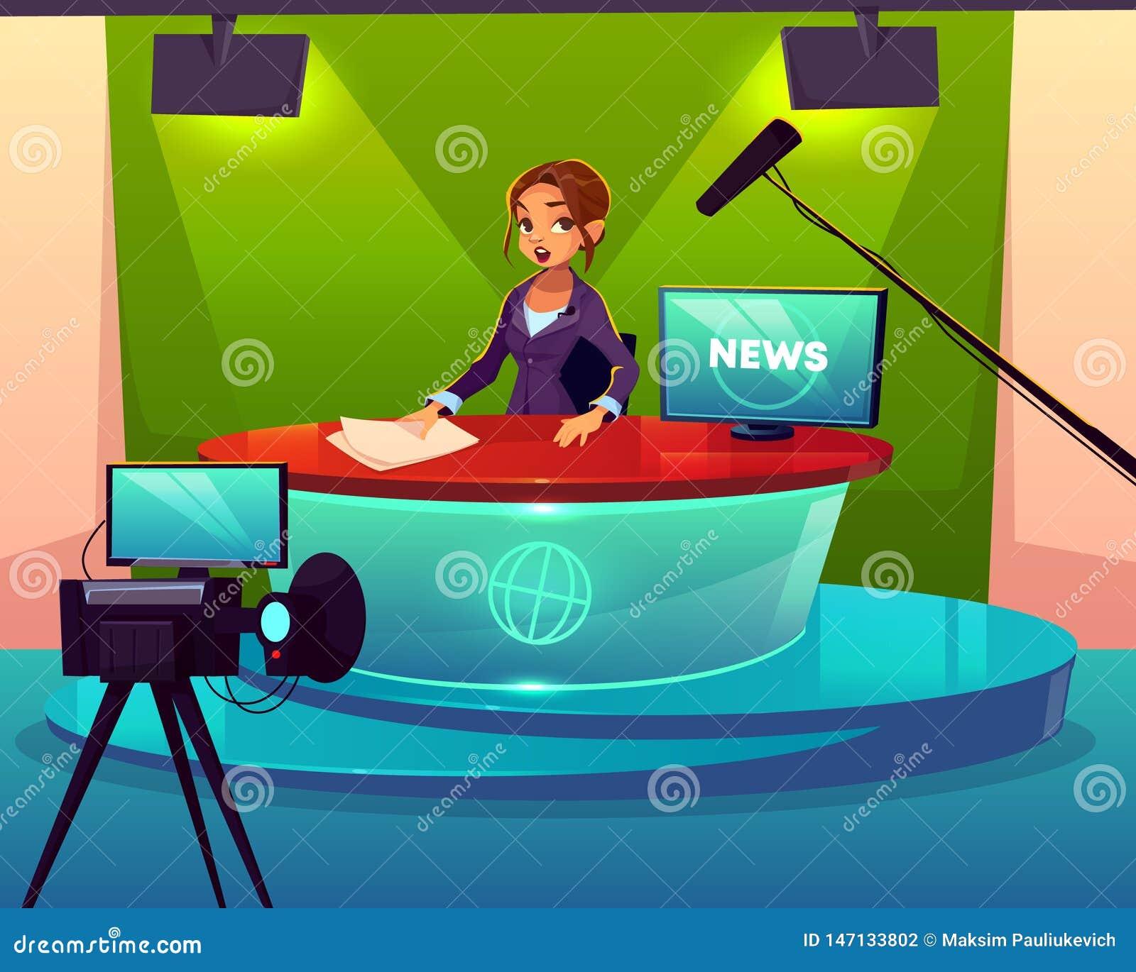 Wiadomość podawca w telewizyjnym pracownianym kreskówka wektorze