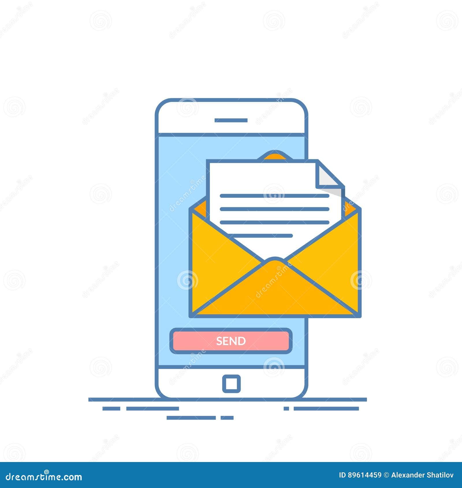Wiadomość wysyła dalej telefon komórkowego Emaila marketing Cienka kreskowa wektorowa ilustracja w mieszkanie stylu odizolowywają