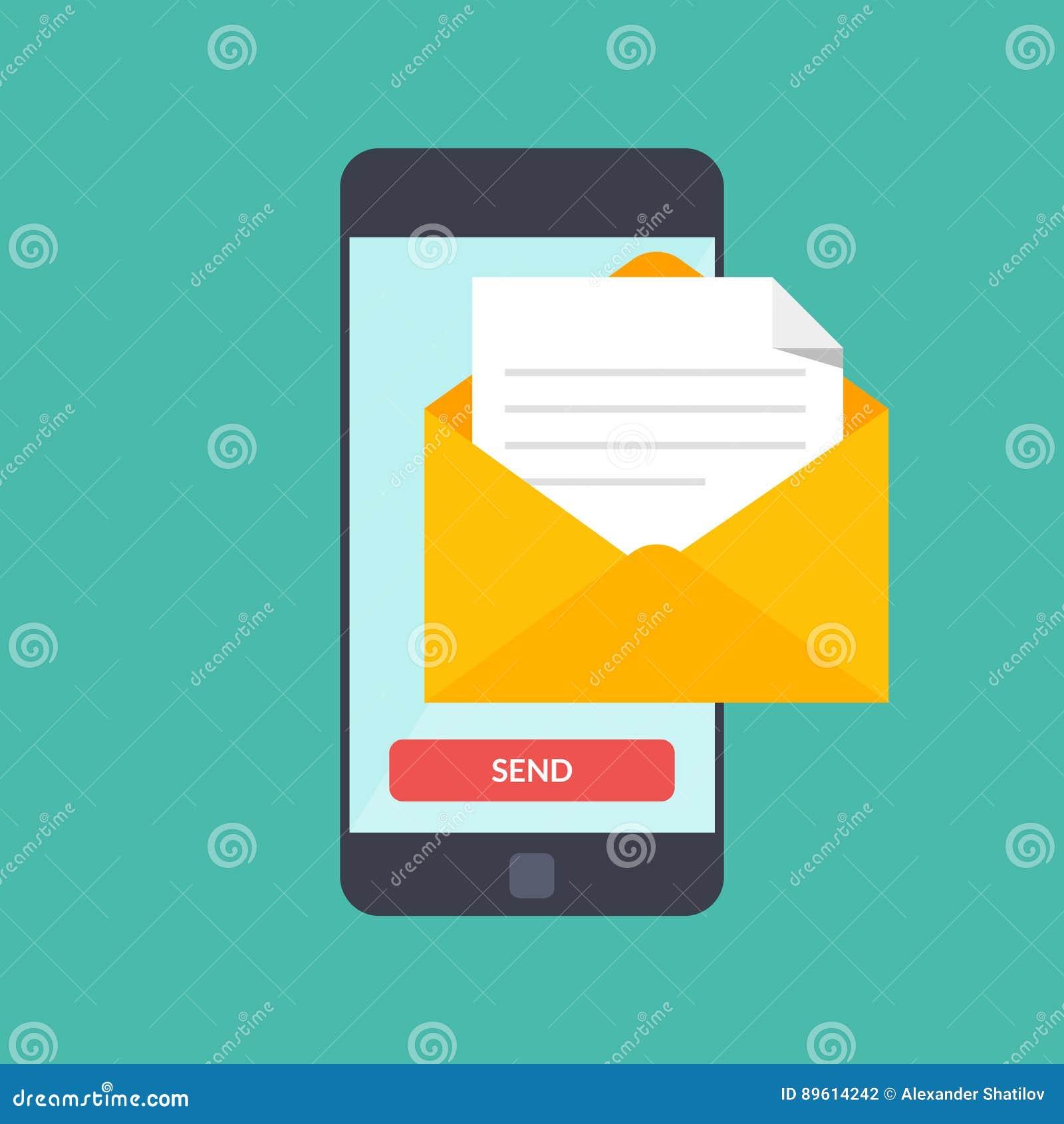 Wiadomość wysyła dalej telefon komórkowego Emaila marketing Wektorowa ilustracja w mieszkanie stylu na koloru tle